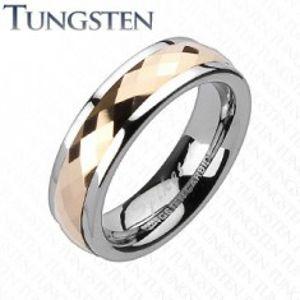 Wolframový prsten - otáčivý středový pás s růžovým zlatem F5.3