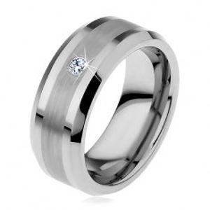 Wolframový prsten s matným středovým pásem a čirým zirkonem, 8 mm H7.17