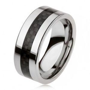 Wolframový prsten stříbrné barvy s černým středovým pásem, mřížka AB33.18