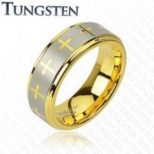 Wolframový prsten ve zlatém odstínu, křížky a pás stříbrné barvy, 8 mm Z39.1