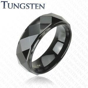 Wolframový prsten - černý, zkosené hrany - Velikost: 62