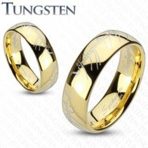 Wolframový prsten ve zlatém odstínu, motiv písma z Pána prstenů, 8 mm V11.20