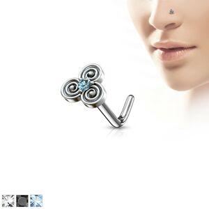 Zahnutý ocelový piercing do nosu s keltským motivem, zirkonek uprostřed - Tloušťka piercingu: 0,8 mm, Barva zirkonu: Čirá - C