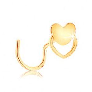 Zahnutý piercing do nosu ze žlutého 14K zlata - srdíčko a obrys srdce GG141.01