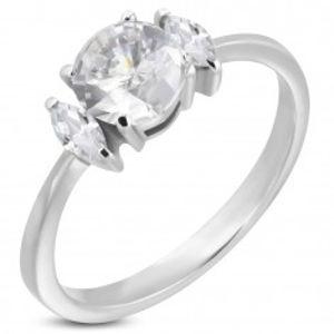 Zásnubní prsten s kulatým zirkonem a dvěma oválnými zirkony D14.14