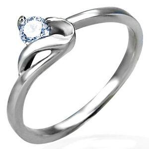 Zásnubní prsten stříbrné barvy, ocel 316L, kulatý čirý zirkon a zvlněné rameno - Velikost: 48