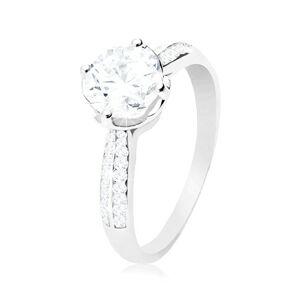 Zásnubní prsten, stříbro 925, čirý kulatý zirkon v dekorativním kotlíku - Velikost: 62