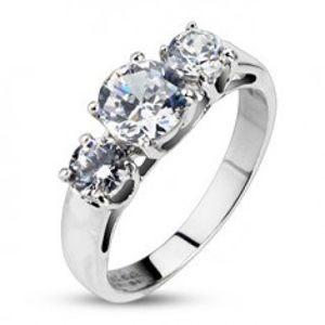 Zásnubní prsten - tři vsazené čiré zirkony K15.11