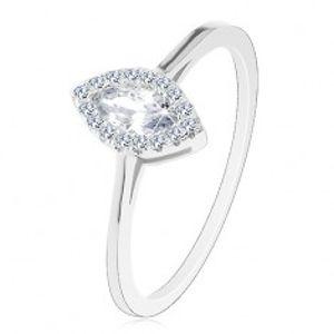 Zásnubní prsten, stříbro 925, čiré zirkonové zrnko s třpytivou obrubou J02.15