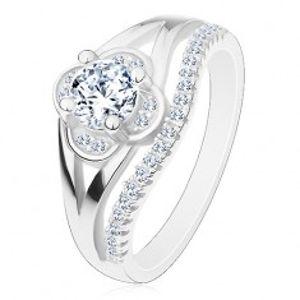 Zásnubní prsten, stříbro 925, čirý zirkonový kvítek a linie drobných zirkonů J16.04