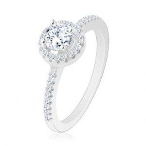 Zásnubní prsten, stříbro 925, kulatý čirý zirkon s blýskavou konturou R26.26