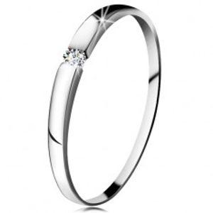 Zásnubní prsten z bílého 14K zlata - zirkon čiré barvy, jemně vypouklá ramena GG202.30/38