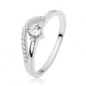 Zásnubní prsten ze stříbra 925, tenká ramena, zvlněná blýskavá linie, zirkon S61.01