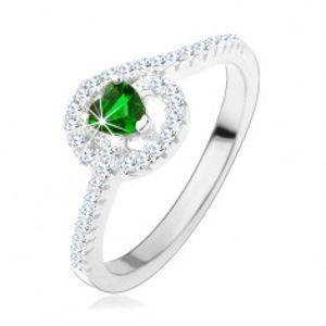 Zásnubní stříbrný prsten 925, zelené zirkonové srdíčko, třpytivé linie HH3.17