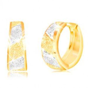 Zlaté 14K náušnice - třpytivé pískované pásy ve žlutém a bílém zlatě GG217.28