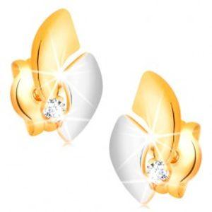 Zlaté 14K náušnice s blýskavým diamantem, dvoubarevné oblouky, puzetky BT501.48