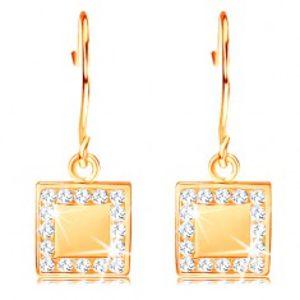 Zlaté diamantové náušnice 585 - plochý čtverec s čirými brilianty po obvodu BT503.49