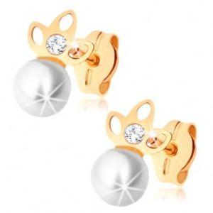 Zlaté náušnice 375 - perla bílé barvy, zašpičatělý trojlístek s výřezy GG71.03