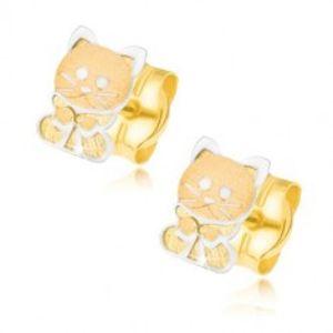 Zlaté náušnice 585 - dvoubarevné koťátko s mašličkou GG21.19
