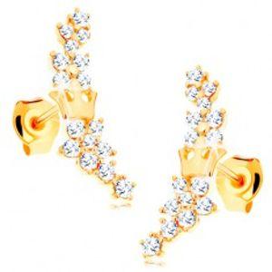 Zlaté náušnice 585 - kvítky ze zářivých čirých zirkonků a malá korunka GG115.05