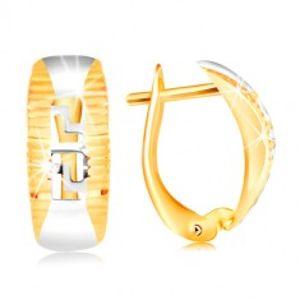 Zlaté náušnice 585 - oblouk lemovaný rýhami, vyřezávaný řecký klíč GG217.65