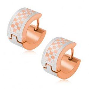 Zlato-stříbrné kruhové náušnice z oceli, šachovnice S65.13