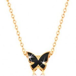 Zlatý 14K náhrdelník - lesklý řetízek, motýl zdobený glazurou černé barvy GG139.11