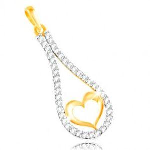 Zlatý 14K přívěsek - obrys srdce v zirkonové kontuře kapky GG212.08