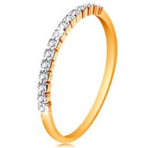 Zlatý 14K prsten - pás třpytivých čirých zirkonků, lesklá ramena GG190.31/39