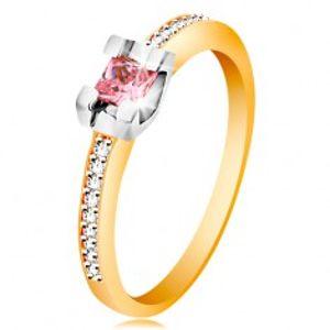 Zlatý 14K prsten - třpytivá ramena, kulatý růžový zirkon v kotlíku z bílého zlata GG189.28/35