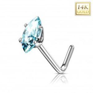 Zlatý 14K zahnutý piercing do nosu - světle modré zrnko, bílé zlato GG223.12