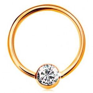 Zlatý piercing 375 - kroužek s kuličkou a vsazeným čirým zirkonem, 12 mm GG182.26