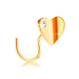 Zlatý piercing do nosu 585, zahnutý - lesklé zalomené srdíčko se zirkonem GG141.12