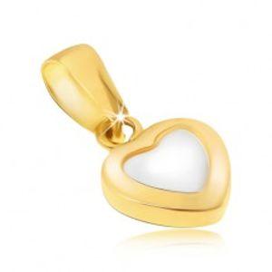 Zlatý přívěsek 585 - dvoubarevné pravidelné srdce, lesklý zaoblený povrch GG21.04