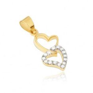 Zlatý přívěsek 585 - obrysy dvou nepravidelných propojených srdcí, zirkony GG13.08