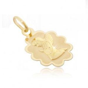 Zlatý přívěsek 585 - známka s vroubkovaným lemem a klečícím andělem GG01.03