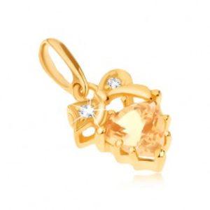 Zlatý přívěsek 585 - čiré kamínky v mašličce, žlutý trojúhelníkový citrín GG90.38