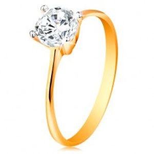 Zlatý prsten 14K - zúžená ramena, zářivý čirý zirkon v lesklém kotlíku GG190.24/30