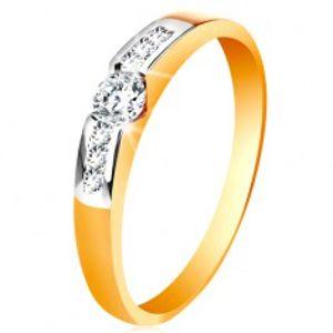 Zlatý prsten 585 - kulatý čirý zirkon uprostřed, pásy zirkonů po stranách GG197.79/86