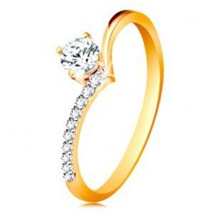 Zlatý prsten 585 - ramena zahnutá do špičky a zirkon čiré barvy v kotlíku GG196.65/73