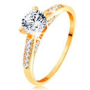Zlatý prsten 585 - třpytivá ramena, vyvýšený kulatý zirkon čiré barvy GG154.78/81/155.36/38