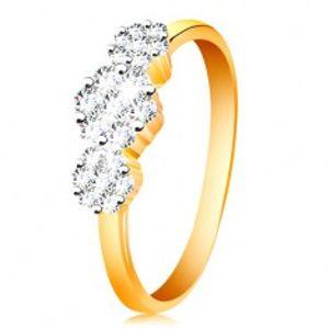 Zlatý prsten 585 - tři blýskavé květy z čirých zirkonů, tenká lesklá ramena GG199.39/45