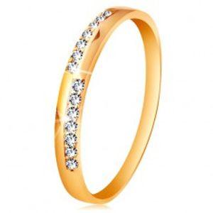 Zlatý prsten 585 - úzké linie z čirých blýskavých zirkonků, vysoký lesk GG193.36/41