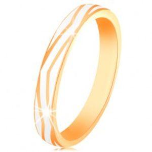 Zlatý prsten 585 - zvlněné pásy z lesklé bílé glazury, hladký povrch GG132.02