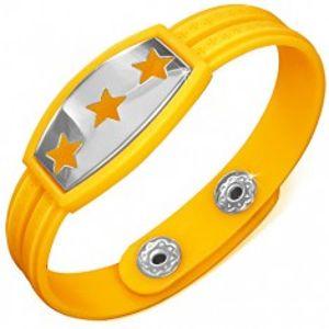 Žlutý gumový náramek - hvězdy na známce, řecký klíč Z9.4